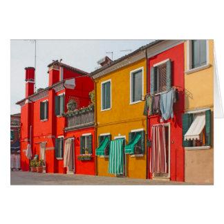 ベニスの島Buranoイタリアの色の家 カード