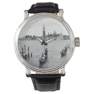 ベニスの白黒Gondolier 腕時計