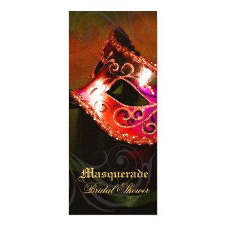 ベニスの赤い仮面舞踏会のブライダルシャワーの招待状 カード