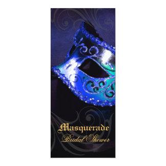 ベニスの青い仮面舞踏会のブライダルシャワーの招待状 カード