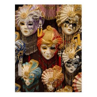 ベニスイタリアのカーニバルのマスク ポストカード