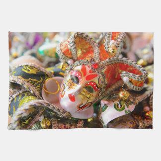 ベニスイタリアのカーニバルの仮面舞踏会のマスク キッチンタオル