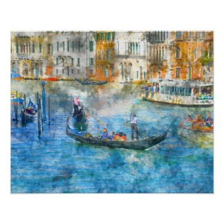 ベニスイタリアの大運河のゴンドラ ポスター