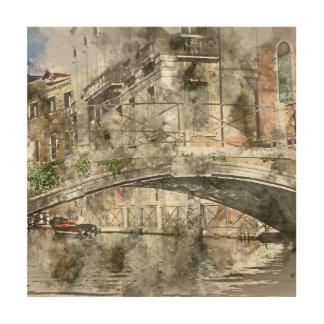 ベニスイタリアの水彩画の運河 ウッドウォールアート