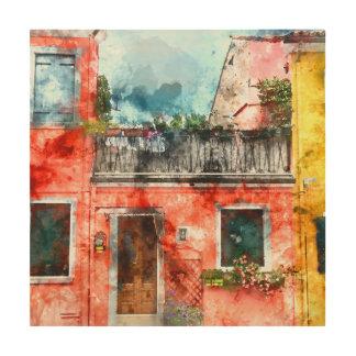 ベニスイタリアの近くのロマンチックなBuranoイタリア ウッドウォールアート