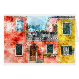 ベニスイタリアの近くのロマンチックなBuranoイタリア カード