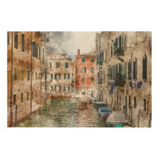ベニスイタリアの運河のボート ウッドウォールアート