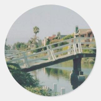 ベニス運河カリフォルニア 丸形シール・ステッカー