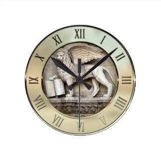 ベニス風のライオン ラウンド壁時計