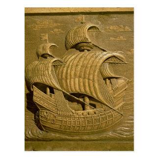 ベニス風のgalleonを描写するレリーフ、浮き彫り ポストカード