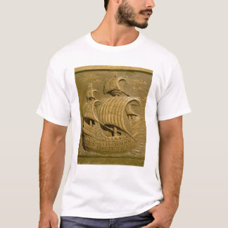 ベニス風のgalleonを描写するレリーフ、浮き彫り tシャツ