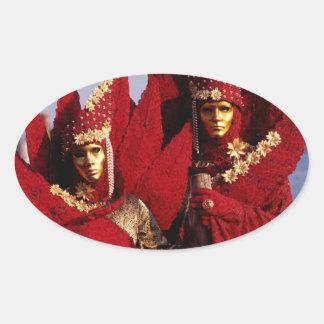 ベニス、イタリアのカーニバルの赤いコスチューム 卵型シール