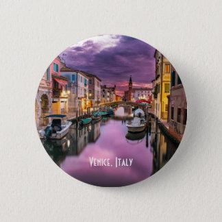 ベニス、イタリアの景色運河及びベニス風の建築 5.7CM 丸型バッジ
