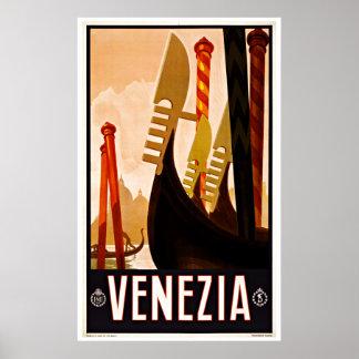 ベニスVeneziaイタリア-ヴィンテージ旅行ポスター ポスター