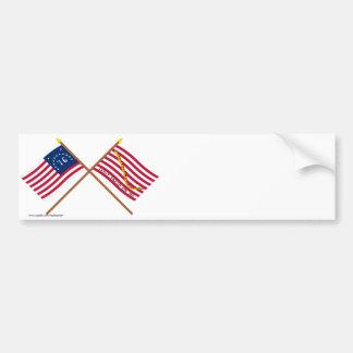 ベニントンの交差させた旗および海軍ジャック バンパーステッカー