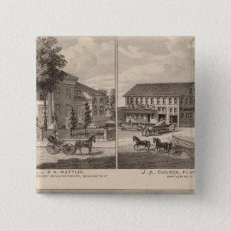 ベニントンの住宅そして工場 5.1CM 正方形バッジ