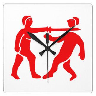 ベニン帝国旗/紋章 スクエア壁時計