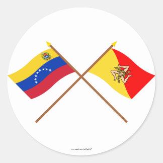 ベネズエラおよびシシリーの交差させた旗 ラウンドシール
