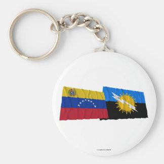 ベネズエラおよびZuliaの振る旗 キーホルダー