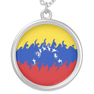 ベネズエラのすごい旗 シルバープレートネックレス