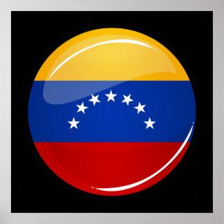 ベネズエラの光沢のある円形の旗 ポスター