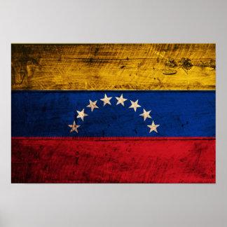 ベネズエラの古い木の旗 ポスター