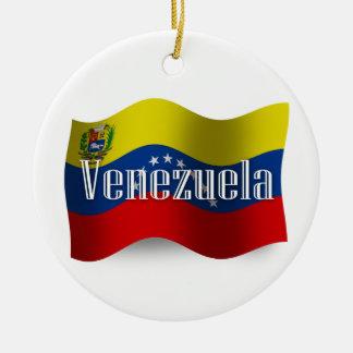 ベネズエラの振る旗 セラミックオーナメント