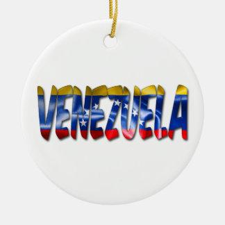 ベネズエラの旗の質の単語のクリスマスのオーナメント セラミックオーナメント