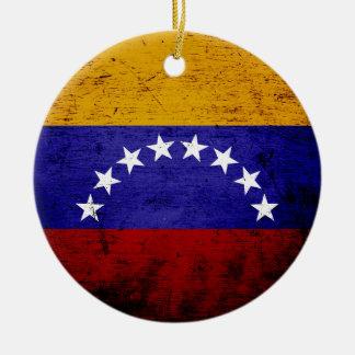 ベネズエラの黒くグランジな旗 セラミックオーナメント