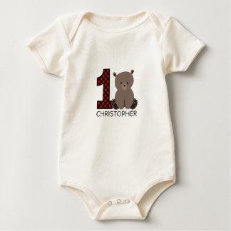 ベビーくまの格子縞の最初誕生日のワイシャツ ベビーボディスーツ