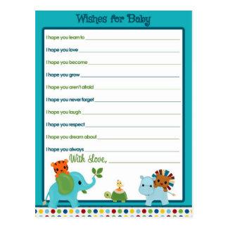 ベビーのアドバイスカードのための動物パレードの願い ポストカード