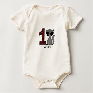 ベビーのアライグマの格子縞の最初誕生日のワイシャツ ベビーボディスーツ