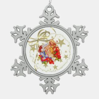 ベビーのイエス・キリストのピューターの雪片の木のオーナメント スノーフレークピューターオーナメント