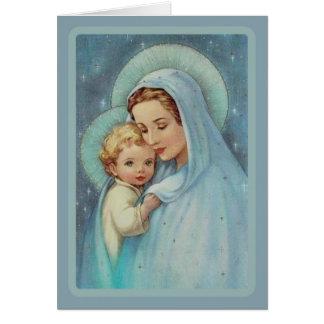 ベビーのイエス・キリストのレースを持つ聖母マリアマドンナ カード