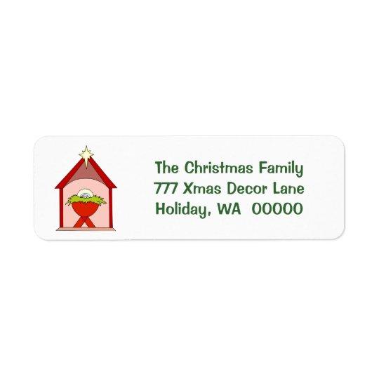 ベビーのイエス・キリストの飼い葉桶のクリスマスの郵送物のラベル 返信用宛名ラベル