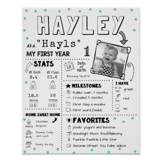 ベビーのインフォグラフィックのマイル標石の最初Birthay板 ポスター