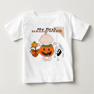 ベビーのカボチャ私の第1ハロウィンの乳児のTシャツ ベビーTシャツ