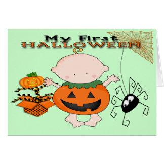 ベビーのカボチャ私の第1ハロウィンの挨拶状 カード