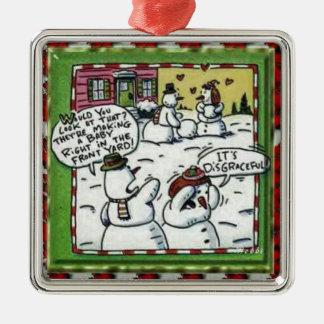 ベビーのクリスマスツリーのオーナメントを作る雪だるま メタルオーナメント