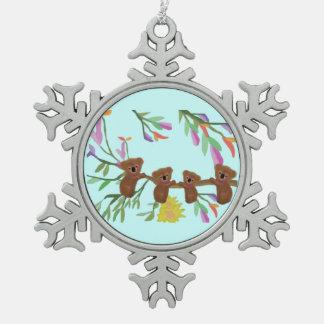 ベビーのコアラの雪片のオーナメント スノーフレークピューターオーナメント