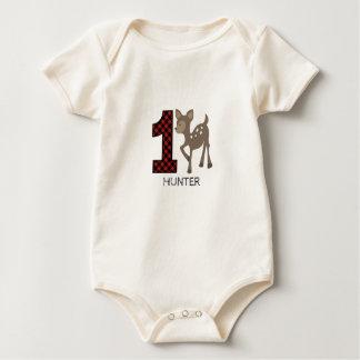 ベビーのシカの格子縞の最初誕生日のワイシャツ ベビーボディスーツ