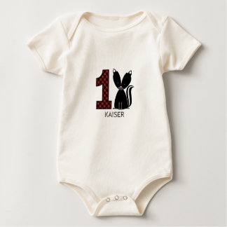 ベビーのスカンクの格子縞の最初誕生日のワイシャツ ベビーボディスーツ