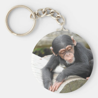 ベビーのチンパンジーのキーホルダー ベーシック丸型缶キーホルダー