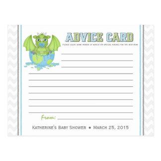ベビーのドラゴンのベビーシャワーのアドバイスカード ポストカード