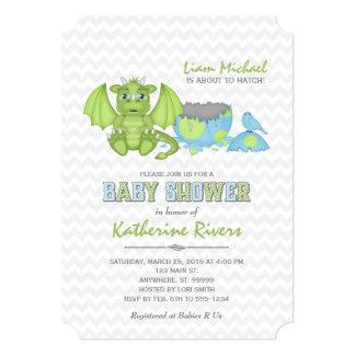 ベビーのドラゴンのベビーシャワーの招待状の青緑の灰色 カード