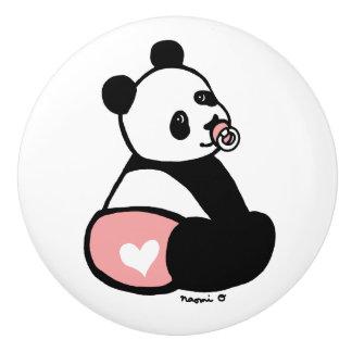ベビーのパンダの漫画のピンクのおむつのノブ セラミックノブ