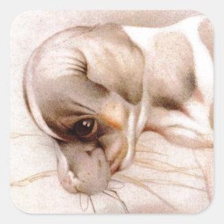 ベビーのフォックステリア犬-すごいかわいい! スクエアシール