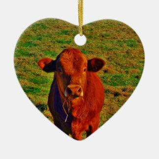 ベビーのブラウン牛食べ物 セラミックオーナメント