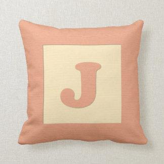 ベビーのブロックの装飾用クッションの手紙J (オレンジ) クッション