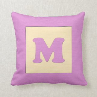 ベビーのブロックの装飾用クッションの手紙M (ピンク) クッション